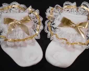Lacy Socks with Metallic Gold Ribbon (Newborn size)