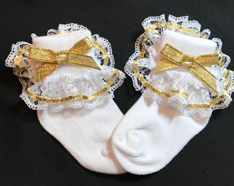 Lacy Socks with Metallic Gold Ribbon detail (size Infant)