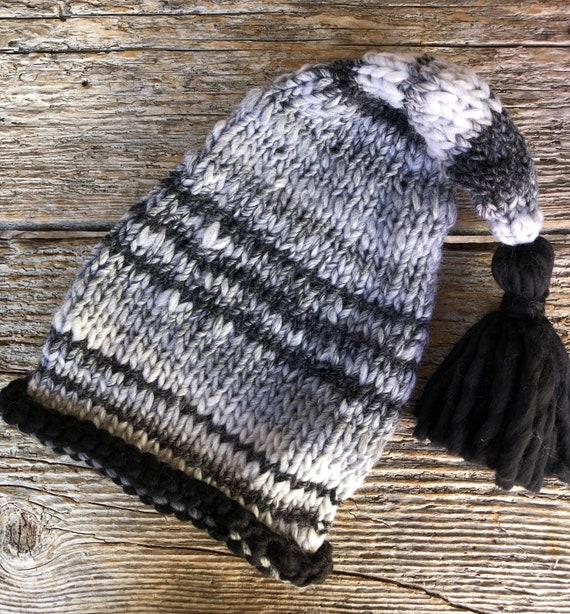 Adorable Knit Elf Hat With Black Edge & Tassel