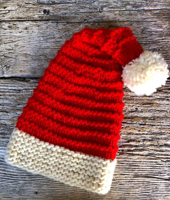 HandKnit Adult Santa Hat With Garter Ridges
