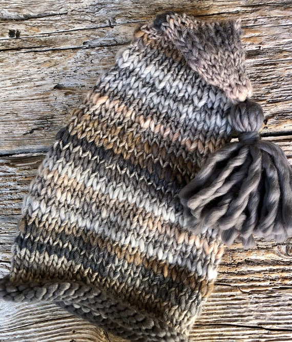 Awesome Knit Elf Hat with Grey Rolled Edge & Tassel