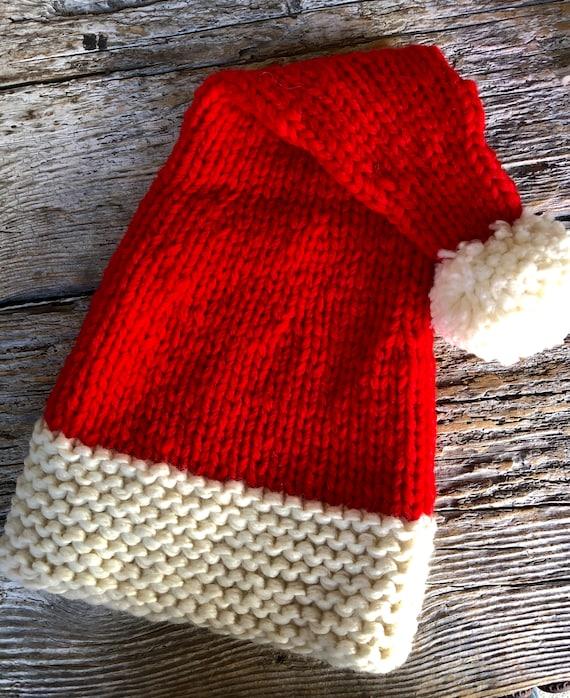 HandKnit Adult Santa Hat