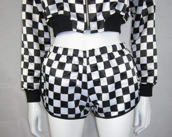check shorts checkered shorts checker shorts check short checkered short checker short black and white shorts checkerboard chechered board