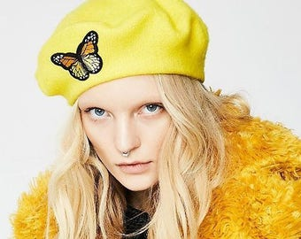 f22524d3144dd butterflies beret yellow beret orange beret green beret butterfly beret  yellow berets orange berets lime beret butterly hat yellow hat love
