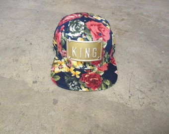 5a283e546c2 ROJAS floral roses metal snapback hat floral rose snap back hats flower  snapbacks king hat king snapback gold king hat gold queen hat king
