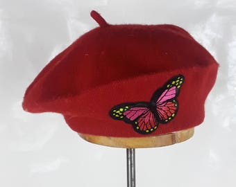 f12a473810b9b butterfly red beret butterfly beret monarch butterfly beret red berets red butterfly  beret red hat monarch butterflies butterfly berets red