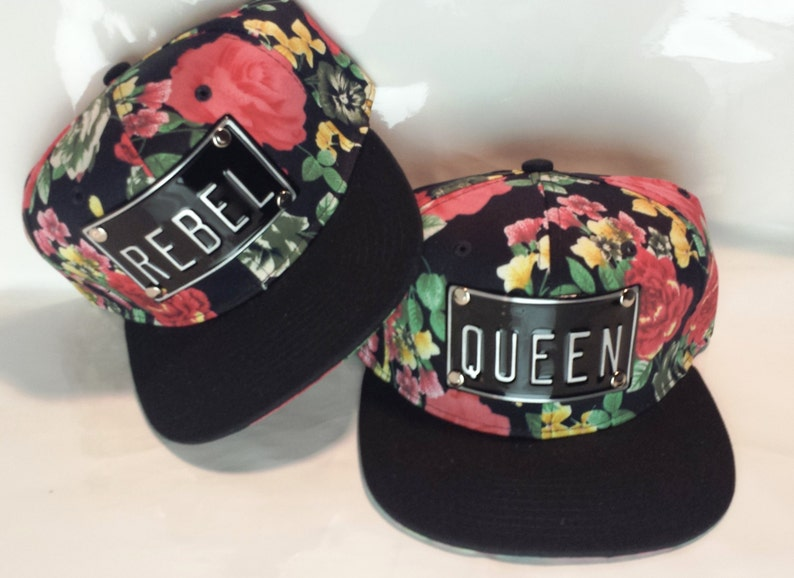9e671428a98 ROJAS rebel queen slay red roses floral black snapback hat can