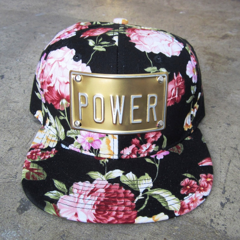 FLOWER POWER or LOVE metal plate snapback hat rojas floral snapback hats  flowers caps or bitch queen adorbs girl ... f5db51133250