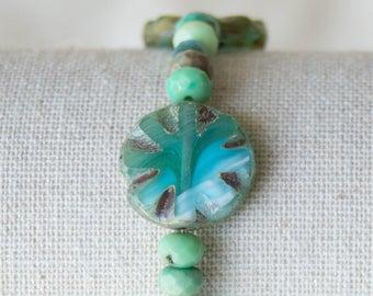 Amazonite Beaded Bracelet Stretch Boho