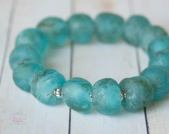 Turquoise-colored African Trading Bead Stretch Boho Bracelet