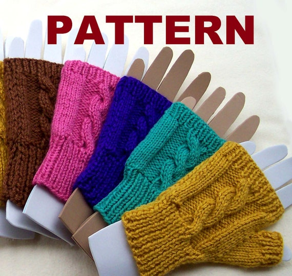 Pattern Fingerless Mittens Cable Knit Pattern For Women Etsy