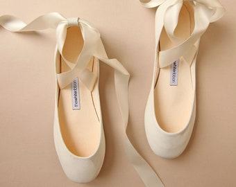Light Ivory Swan Bolshoy Style Ballet Flats with Long Satin Ribbons