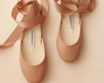Coffee Nude Leather Ballet Flats with Satin Ribbons and Ankle Straps