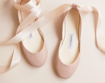 Nude Matte Leather Wedding Shoes with Satin Ribbons