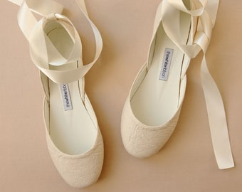 VEGAN Ivory Wedding Ballet Flats in with Lace Up Satin Ribbons