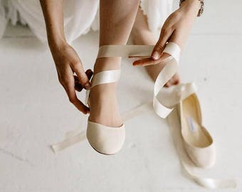 Ballet Flats For Wedding | The Pearl Ivory Bridal Ballet Flats With Satin Ribbons Etsy