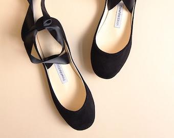 Black Nubuck Bolshoy Style Ballet Flats with Long Lace Up Ribbons