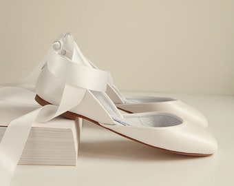 Pearl Ivory Leather Ballet Flats with Satin Ribbons