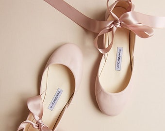 Bridal Leather Ballet Flats in Blush with Satin Ribbons