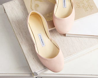 aab33bed0a6 Metallic Rose Gold Ballet Flats Bridal Wedding Shoes