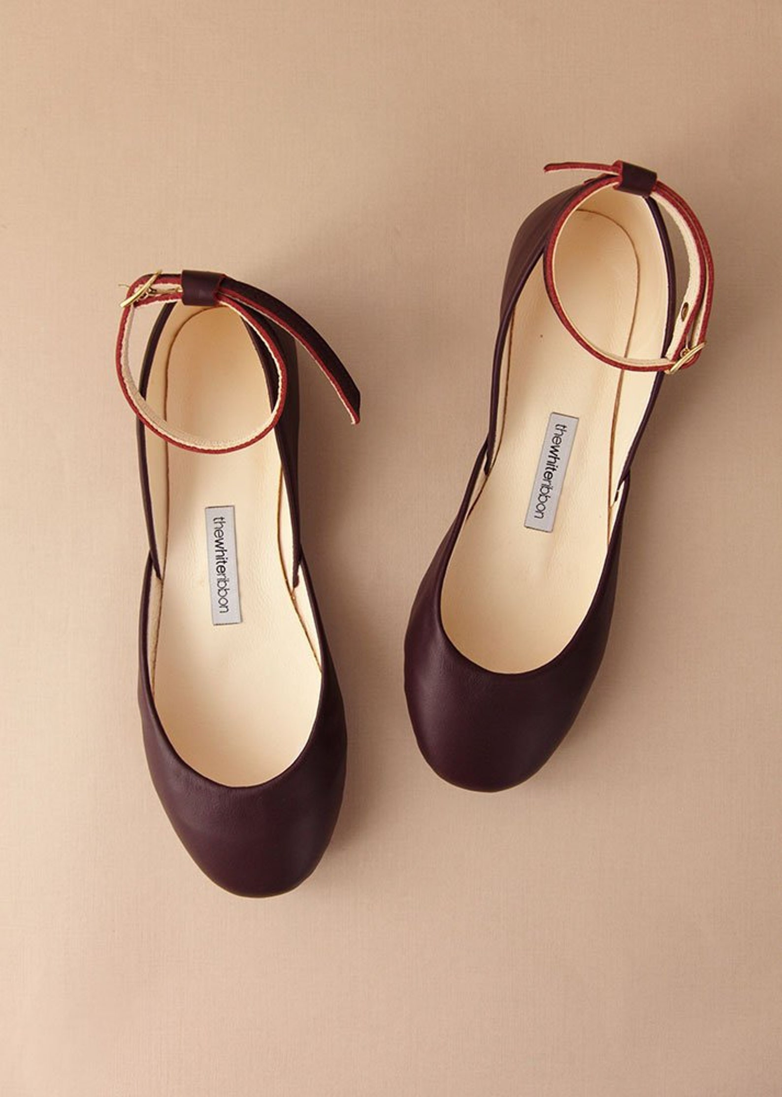 bordeaux leather ballet flats with ankle straps | mary jane flat shoes | classic cut and standard width | bordeaux | ready to sh