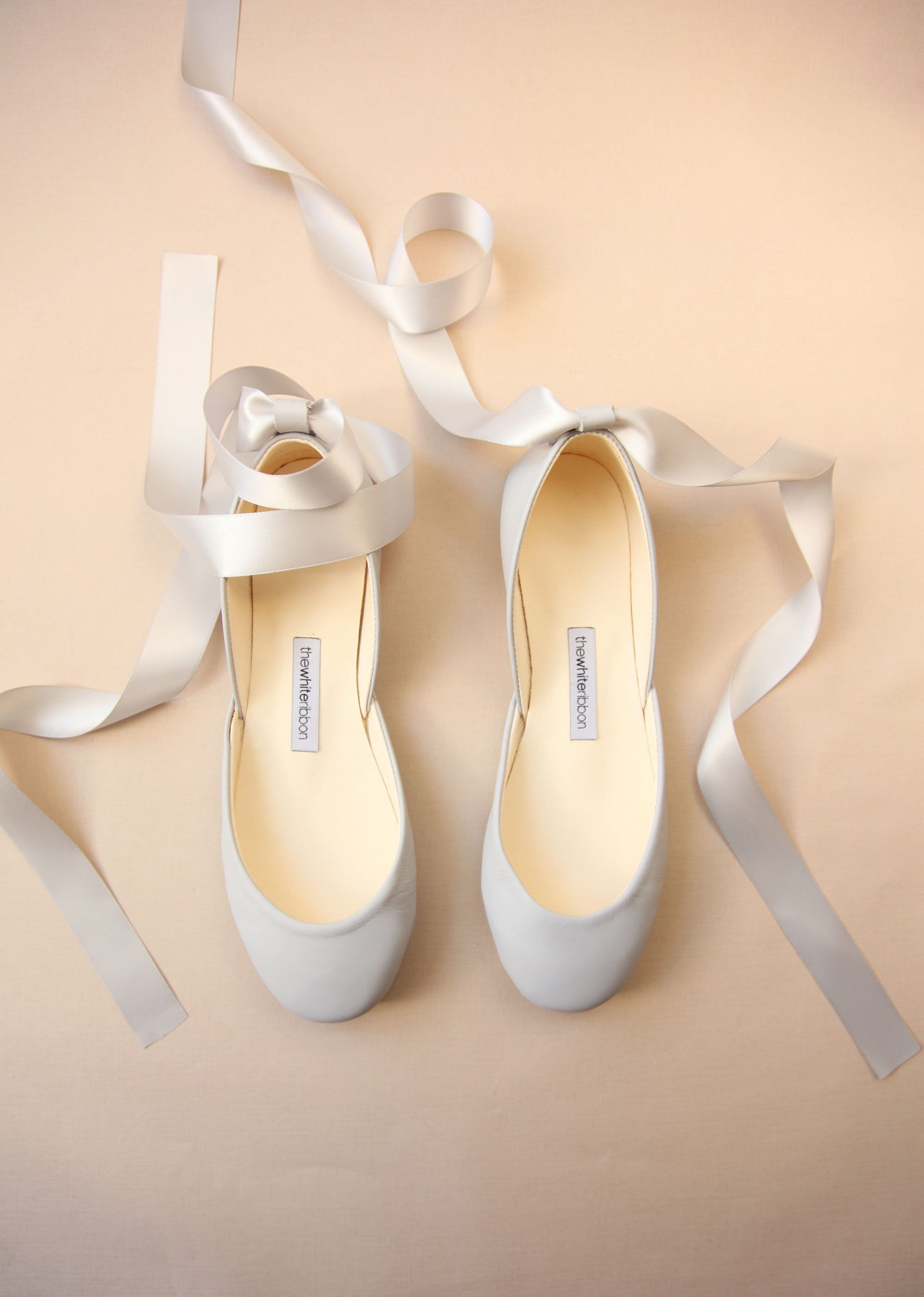 a766881529a Feather Grey Ballet Flats with Satin Ribbons   Pointe Style Shoes   Feather  Gray   Ready to Ship