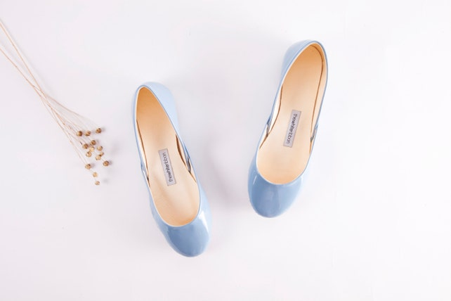 Last Pair eu 38 | Patent Ballet Flats in Blue | My Something Blue | Classic Model | Standard Width | Powder Blue Patent | Ready to Ship