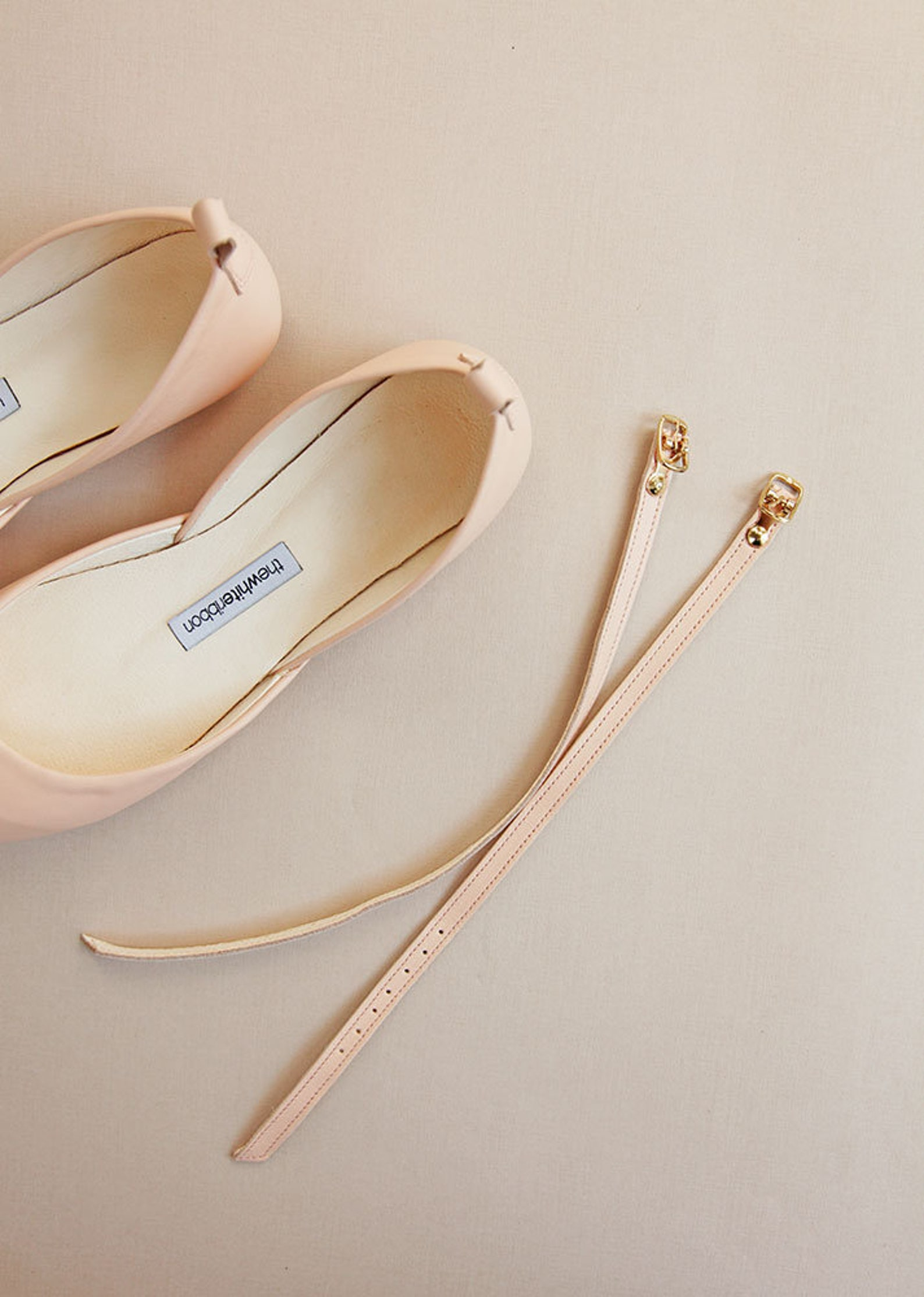 peach nude wedding ballet flats | bridal shoes with satin ribbons | leather ballet flats | peach nude with satin ribbons | ready