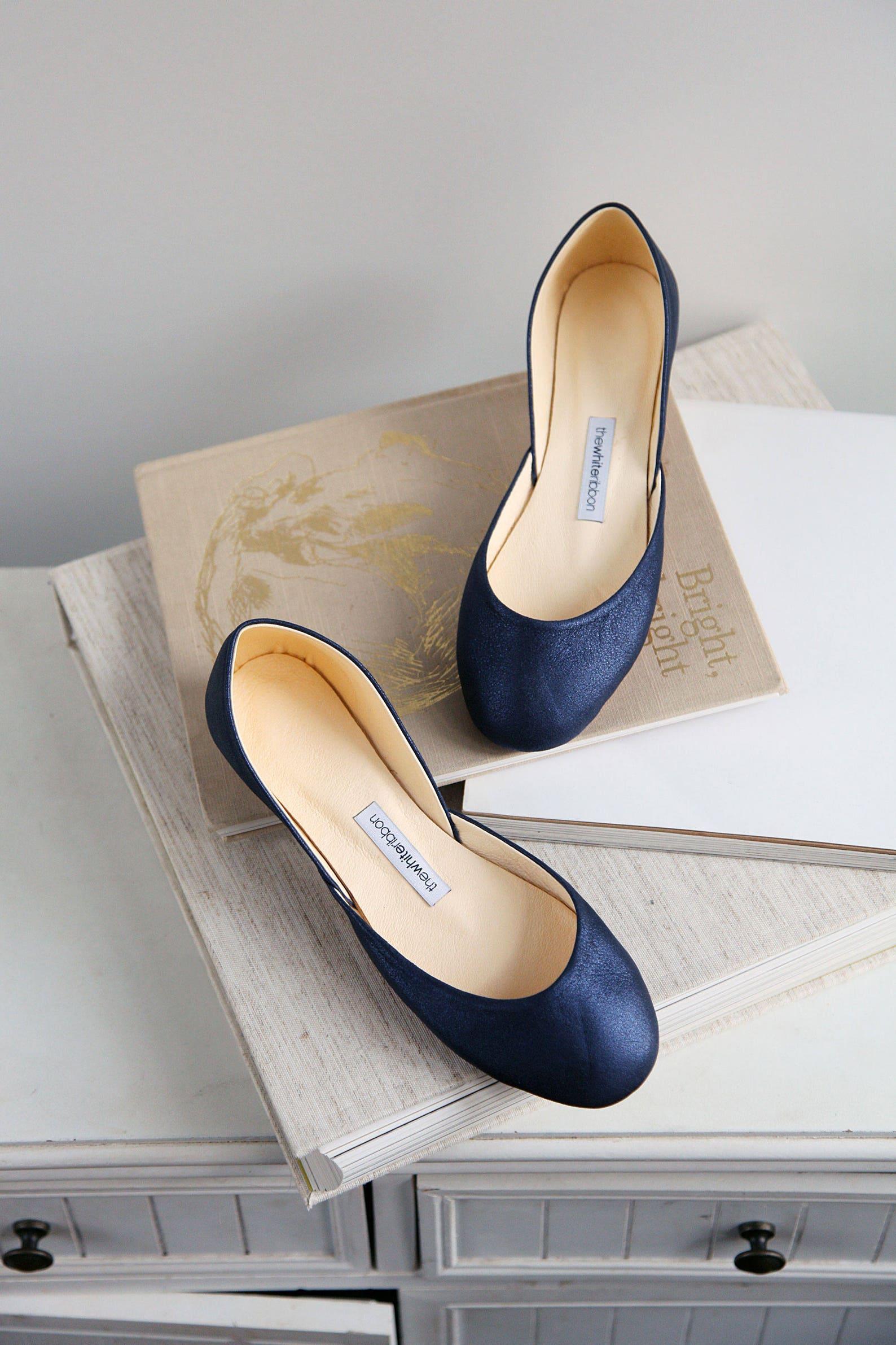 metallic blue bridal shoes | sparkle blue ballet flats | my something blue | classic model | standard width | midnight blue | re