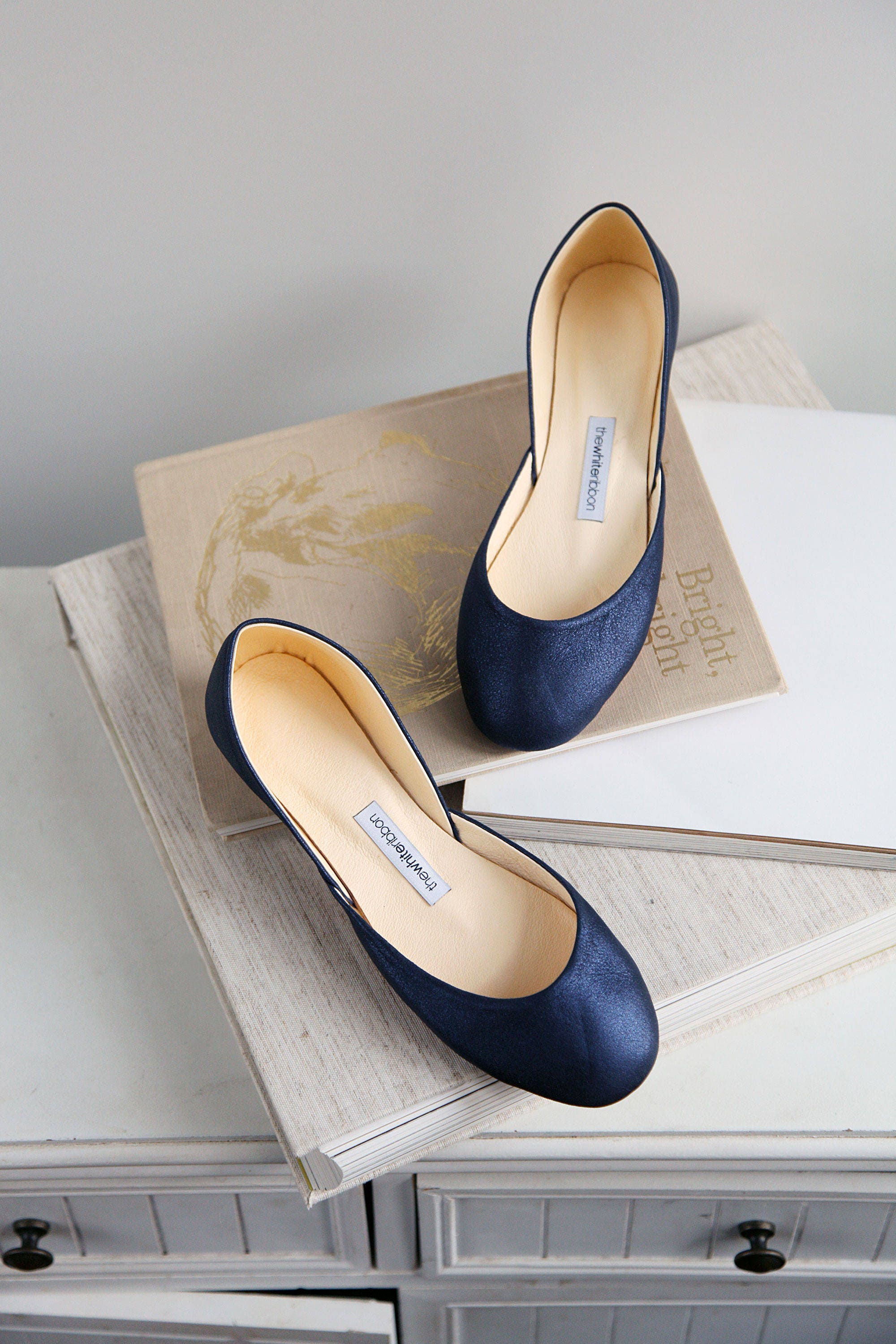 Dark Blue Bridal Shoes Flats | Sparkle Blue Ballet Flats Shoes | My Something Blue | Classic Model | Standard Width | Midnight Blue | Ready to Ship 4a56a4