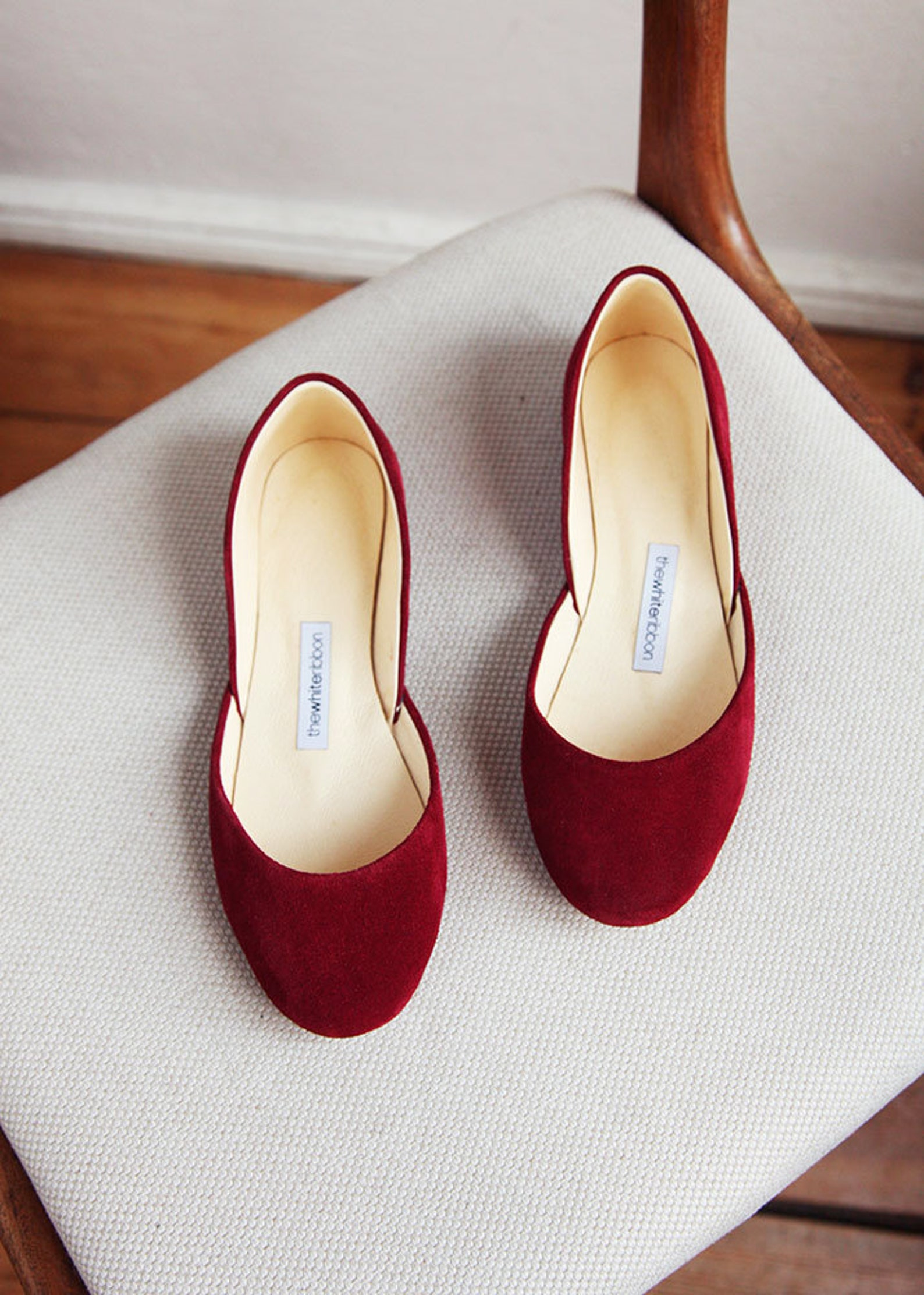 the nubuck leather ballet flats | the perfect summer flat shoes in cherry red | ready to ship