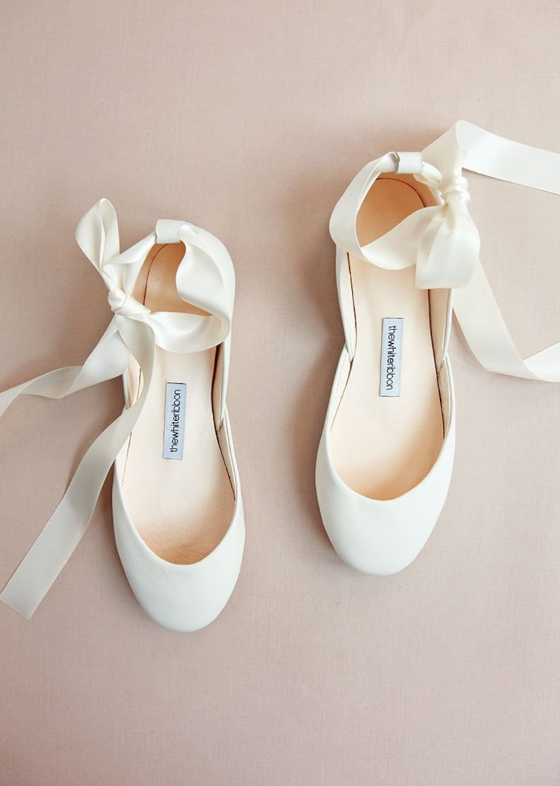3976691ffa4c3 The Wedding Ballet Flats in Light Ivory | Leather Lace Up Bridal Shoes |  Spring Wedding | Light Ivory with Satin Ribbons | Ready to Ship