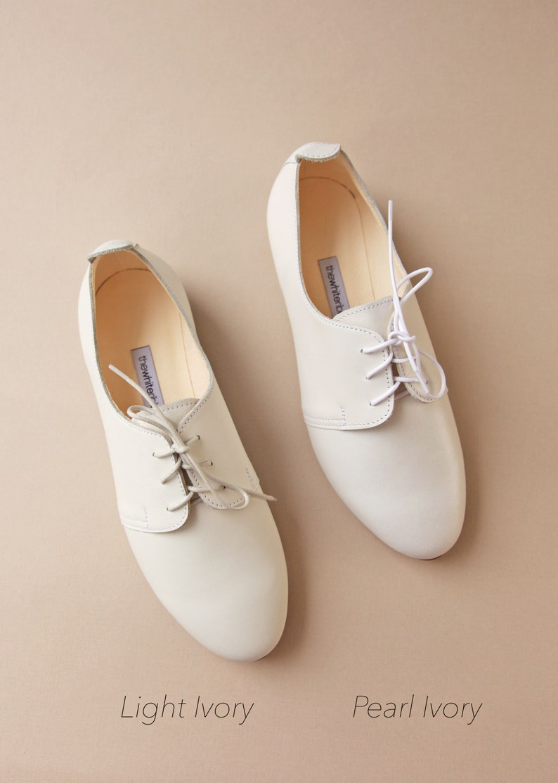 a353ff15cc0e3 The Wedding Saddle Shoes in Pearl Ivory | Bridal Oxford Shoes Leather Flats  | Pearl Ivory | Ready to Ship