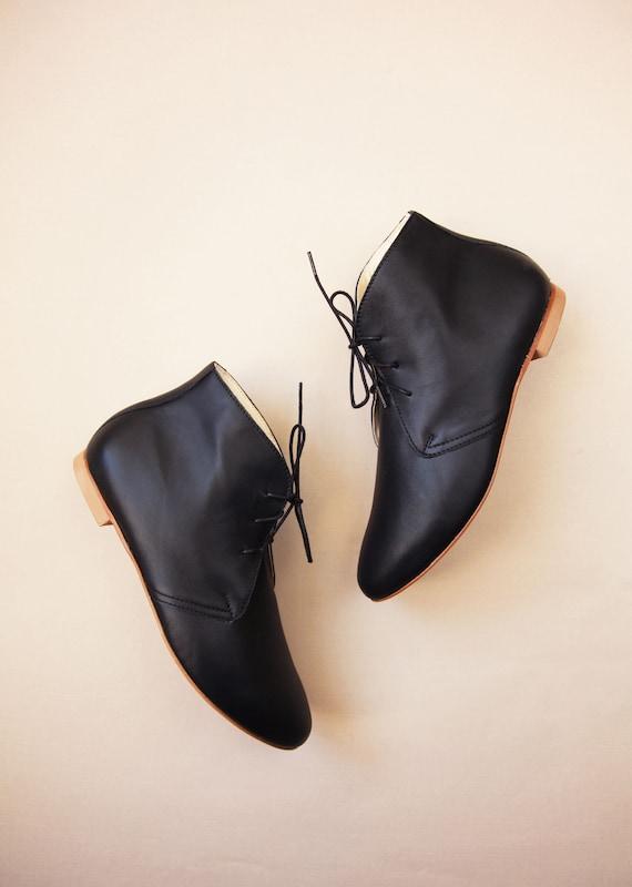 Klassische Booties Lieferbar In StiefelettenFlache Damen Kurze Schwarze Klassischem Schwarz Leder Schuhe Für Ankle Sofort WE29IDHY