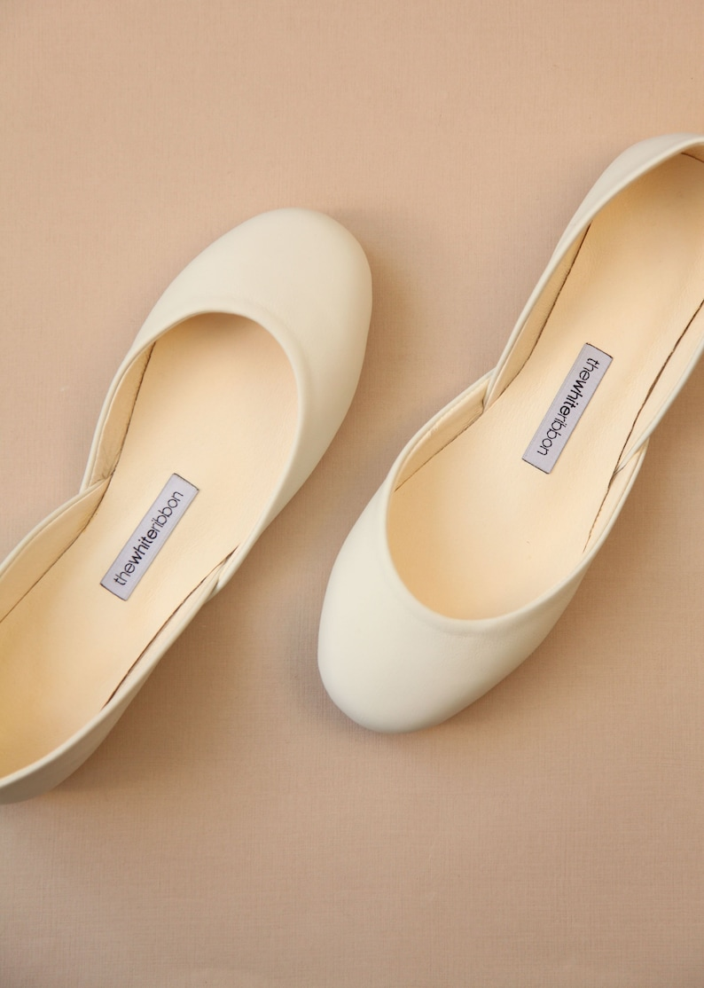 ab34139c7fa Bridal Ballet Shoes Ivory Ballet Flat Wedding Shoes   Minimal Bridal Shoes    Classic Model   Standard Width   Light Ivory   Ready to Ship