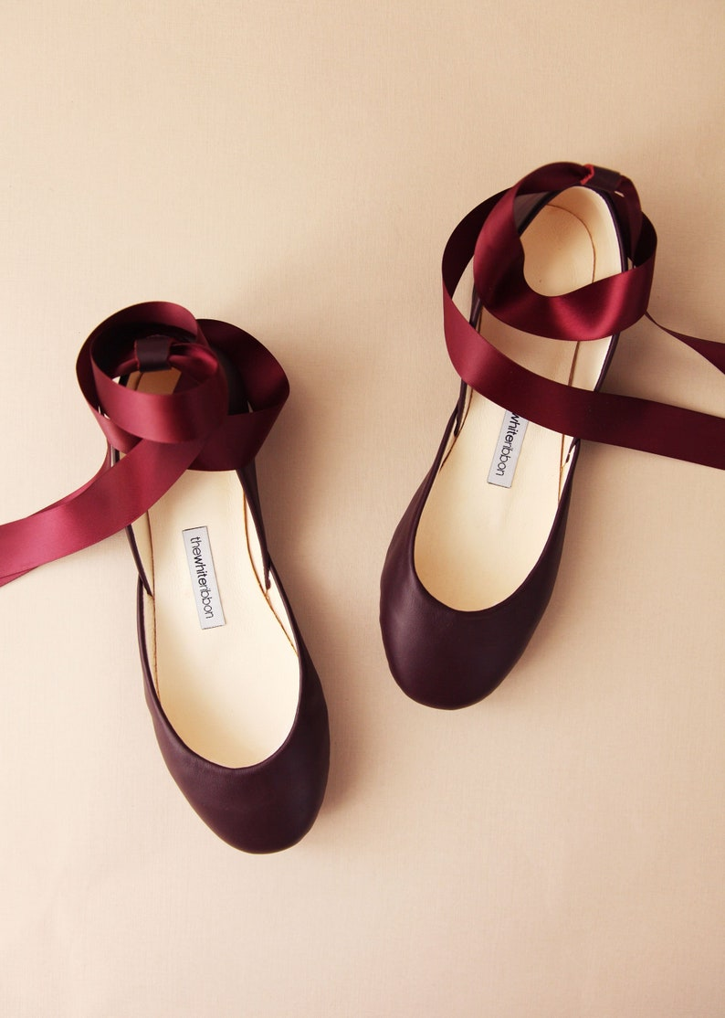 71cc34058f9e Bordeaux Leather Ballet Flats with Ankle Straps Mary Jane