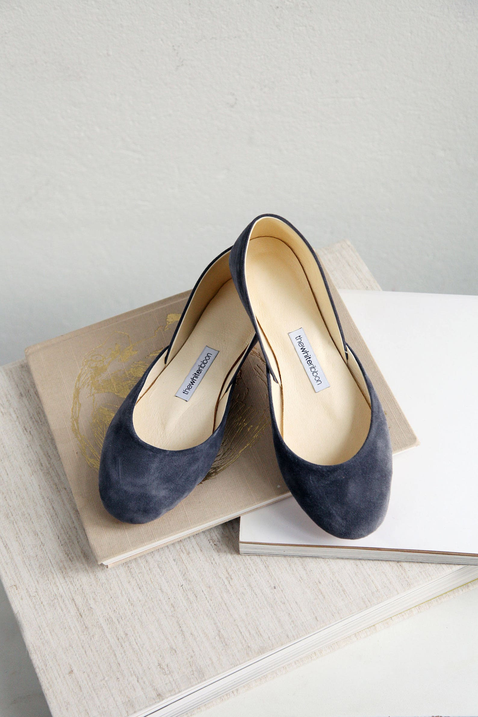 the suede ballet flats in smokey gray | pointe style shoes | classic model | standard width | smokey grey | ready to ship