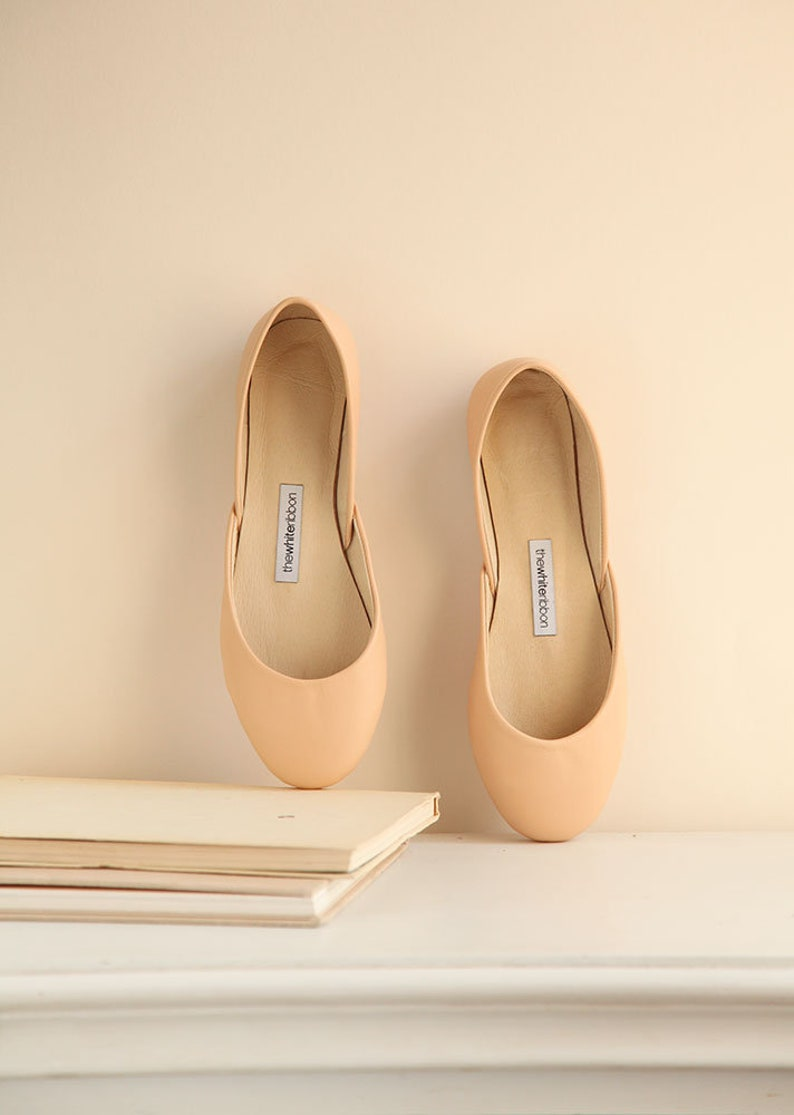 7c8d6dd8ff6 Apricot Nude Leather Ballet Flats Minimal Shoes Pointe