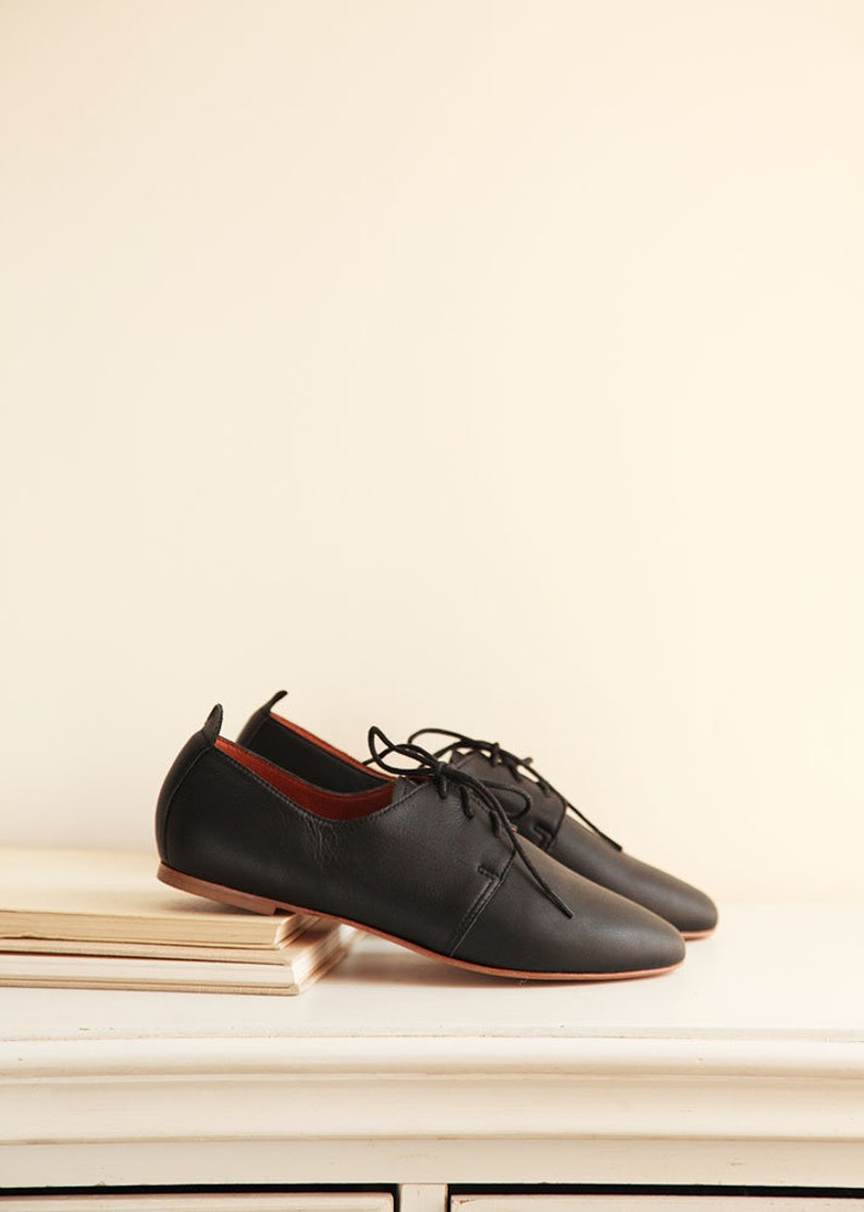 98bcb4dde8b36 Black Leather Saddle Shoes | Women's Derby Leather Shoes in Midnight Black  | Ready to ship