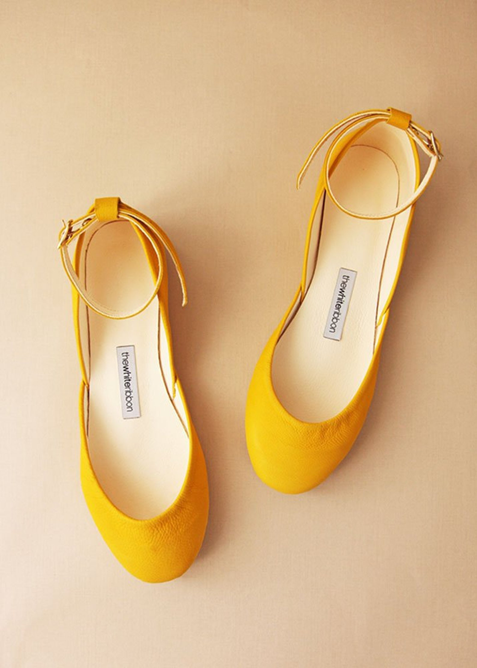 yellow nubuck ballet flats with leather ankle ribbons   classic model   standard width   honey yellow mary janes