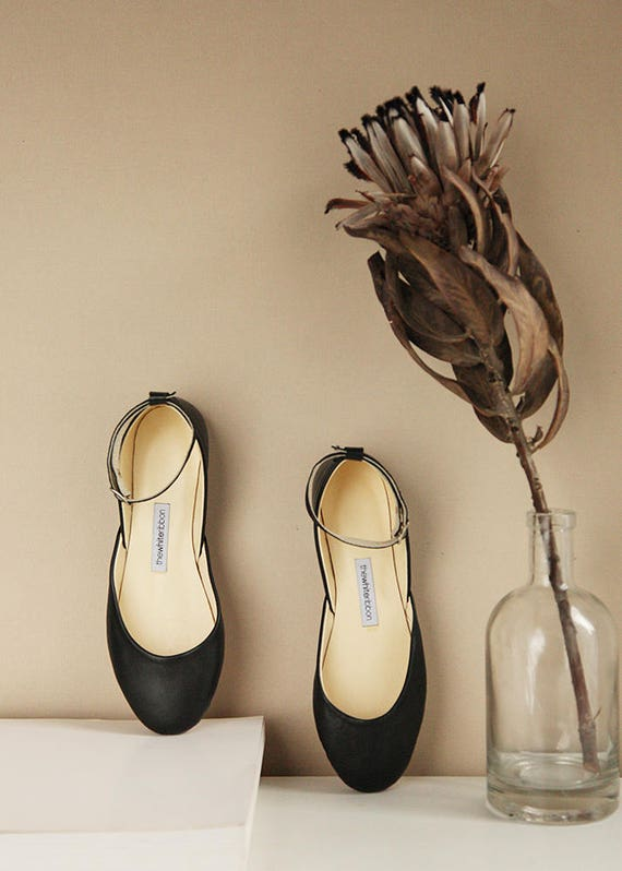 Mary Jane Ballet Flats in Black Leather | Classic Model | Standard Width | Black Mary Janes | Ready to Ship