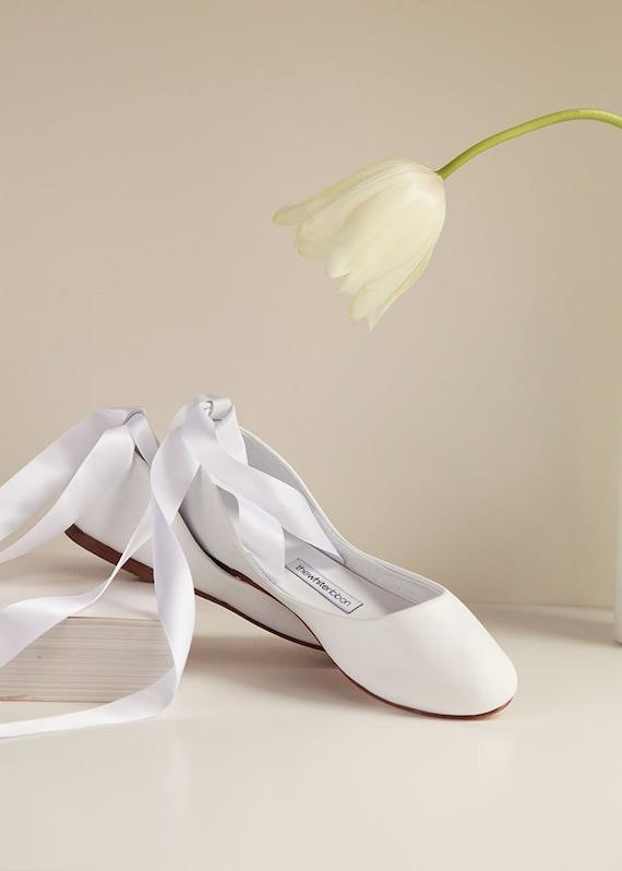 Hochzeitsballerinas Flache Brautschuhe Ballerinas Weisse Etsy