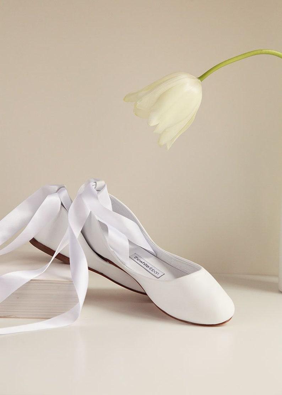 34aaa9dc347b79 Hochzeitsballerinas flache Brautschuhe Ballerinas weiße