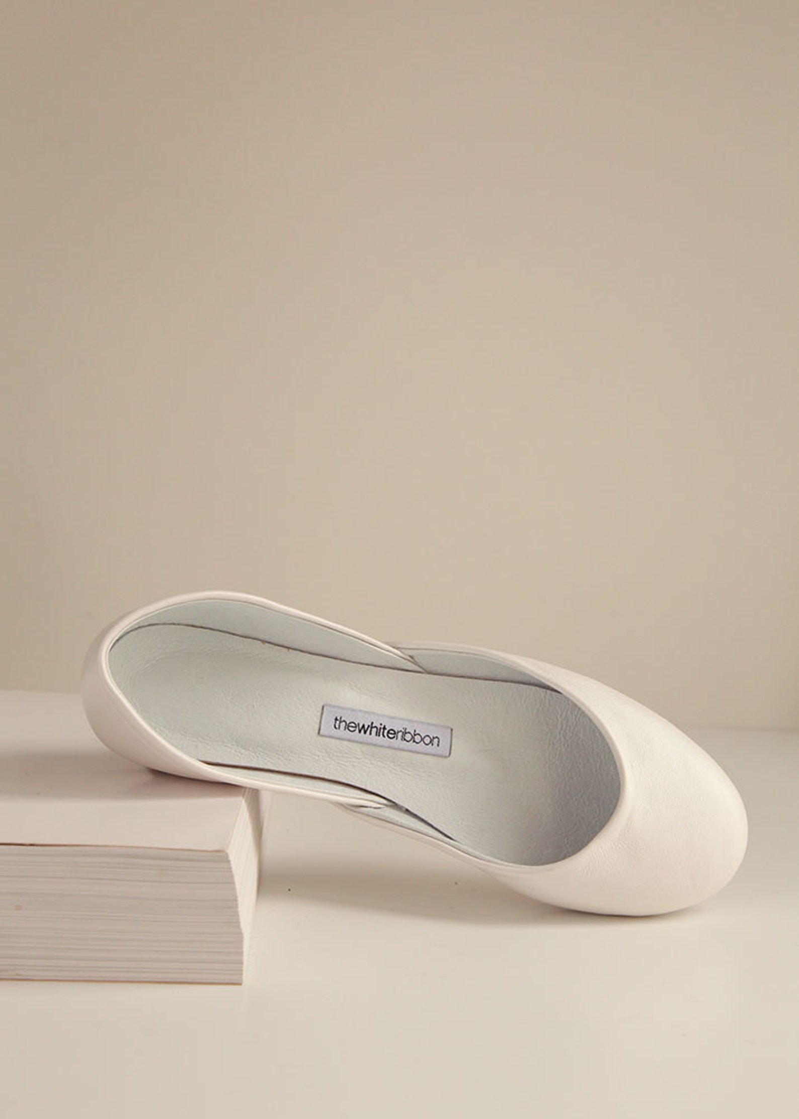 the classic ballet flats in pearl ivory | pointe style shoes | pearl ivory | ready to ship