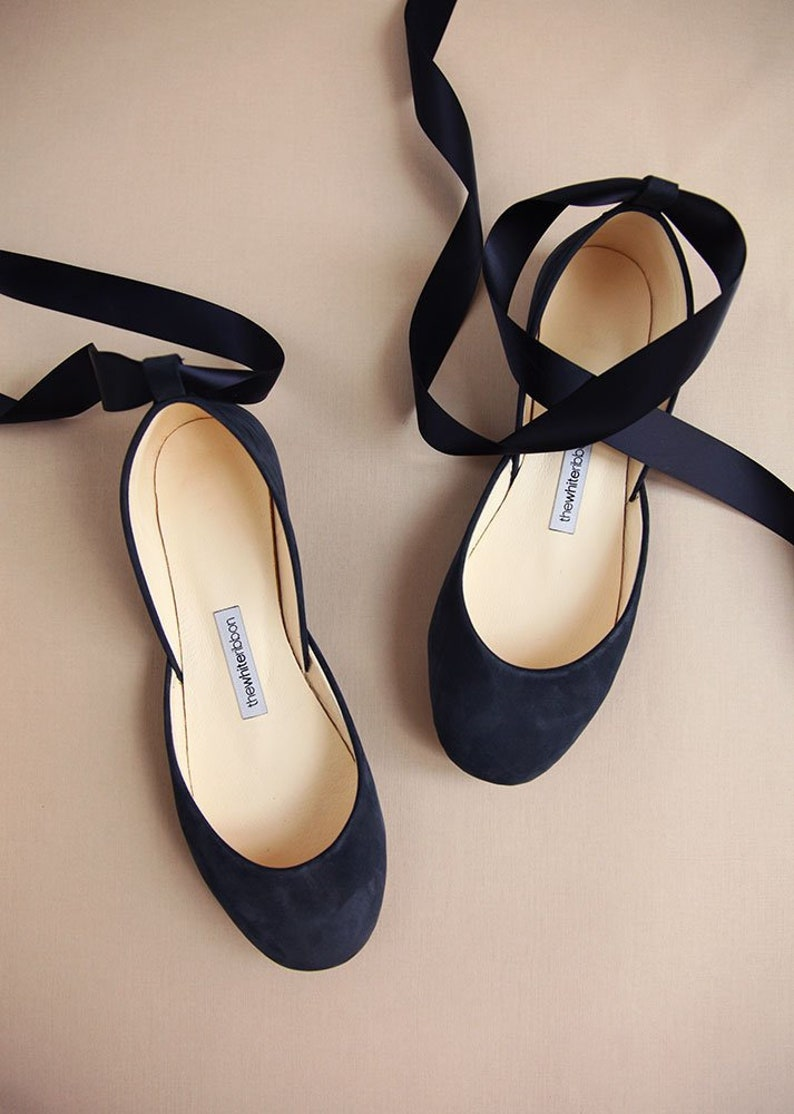 f07937ca5779 The Navy Blue Wedding Ballet Flats Bridal Shoes with Satin