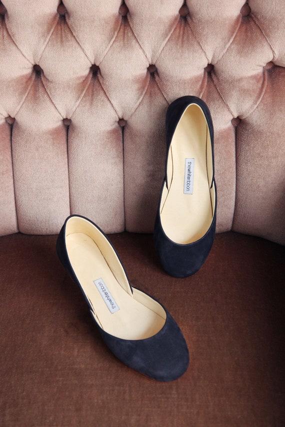 Marineblaue Ballerinas Lederschuhe Ballet Flats Navy Blue   Etsy