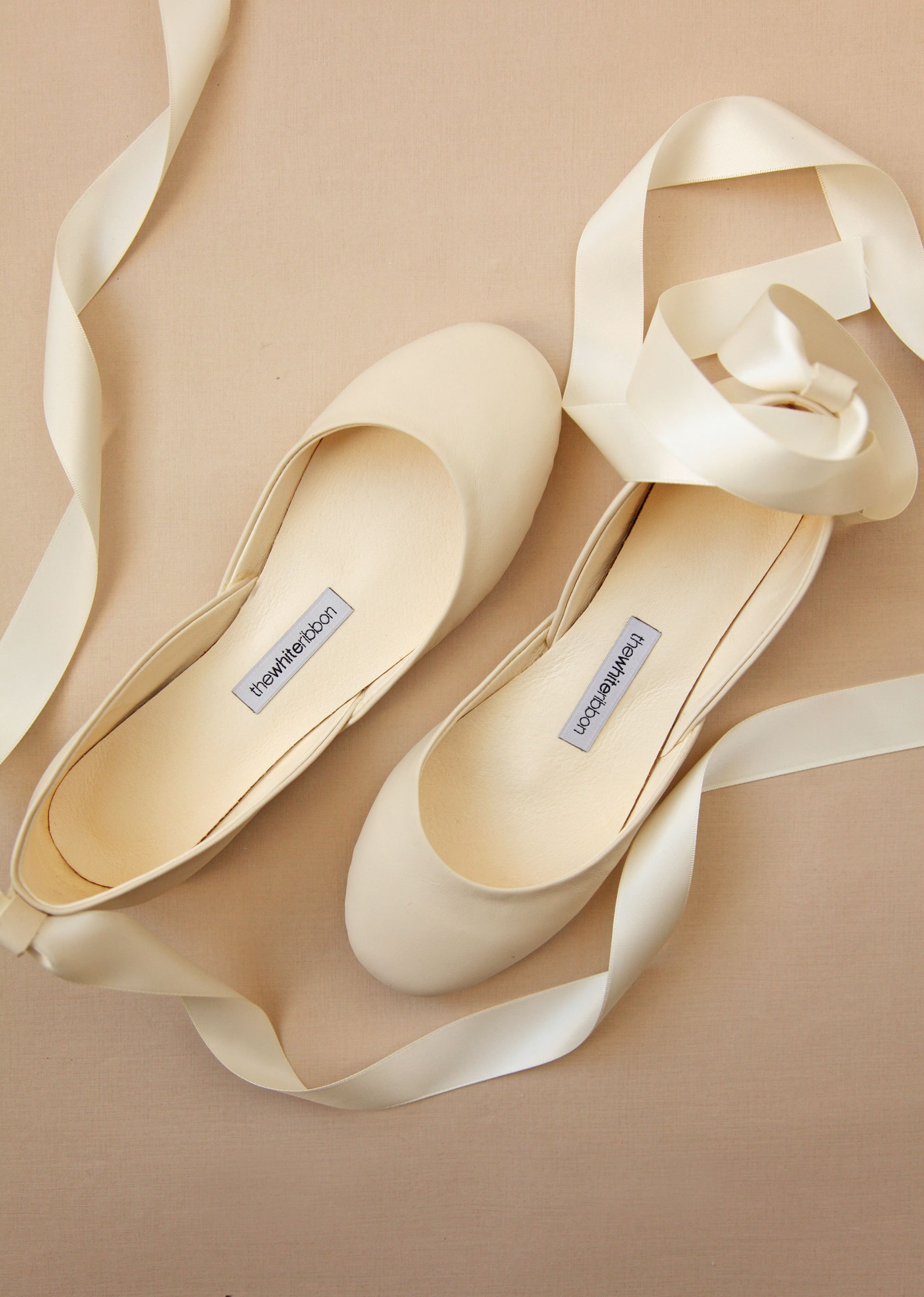 the bridal ballet flats | wedding shoes with satin ribbons | ivory leather bridal flats | vanilla ivory | ready to ship
