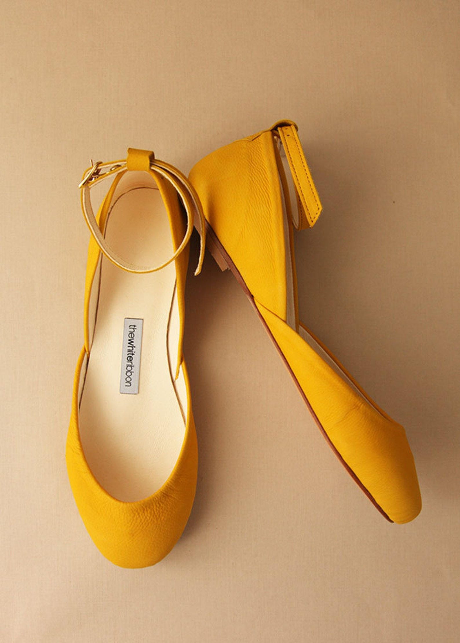 yellow nubuck ballet flats with leather ankle ribbons | classic model | standard width | honey yellow mary janes