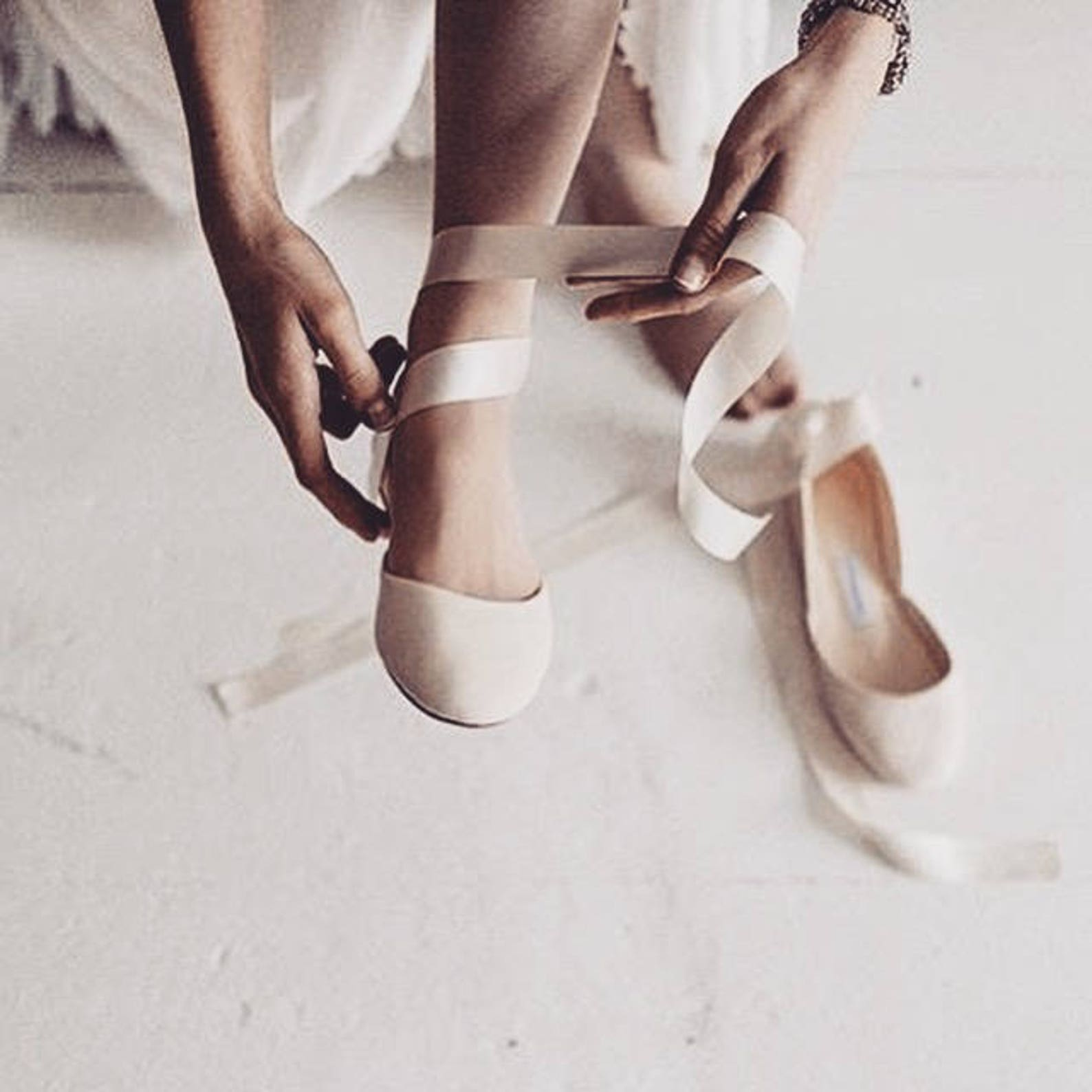 the nude blush wedding ballet flats | bridal leather shoes with satin ribbons | nude with satin ribbons | ready to ship