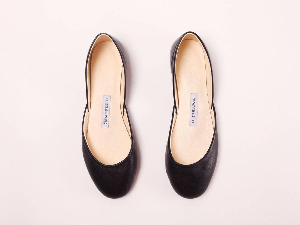 Classic Black Leather Ballet Flats